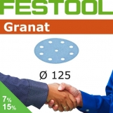 FESTOOL Granat 125mm StickFix Discs 9H Film Back (box 50)