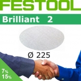 FESTOOL Brilliant 2 225mm StickFix Discs 8H for Plaster (box 25)