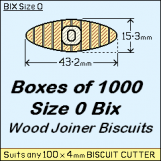 BIX Size 0 Bix Wood Joiner Biscuits Box of 1000