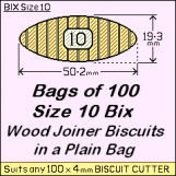 BIX Size 10 Bix Wood Joiner Biscuits Bag of 100