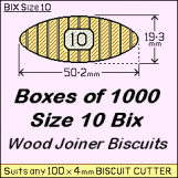 BIX Size 10 Bix Wood Joiner Biscuits Box of 1000