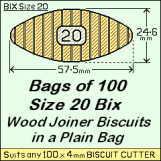 BIX Size 20 Bix Wood Joiner Biscuits Bag of 100