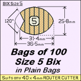 BIX Size 5 Bix, in a Plain Bag / Bag of 100