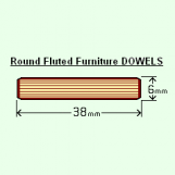 BIX 6 x 38mm Round Fluted Dowels Box of 1000