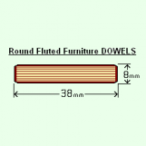 BIX 8 x 38mm Round Fluted Dowels (Bag of 100)