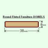 BIX 8 x 38mm Round Fluted Dowels (Bag of 100)