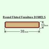 BIX 10 x 38mm Round Fluted Dowels (Bag of 100)